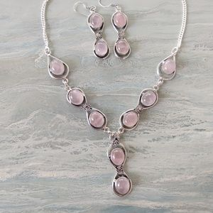 Gorgeous pink quartz stamped 925 set
